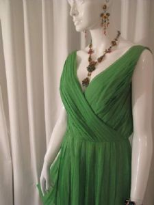 1960's Emerald green silk chiffon knife pleated vintage dress **SOLD**